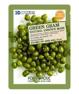 FOODAHOLIC Тканевая маска Green Gram Natural Essence Mask, 23 г  2,5