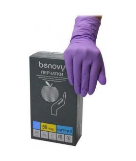 BENOVY Перчатки нитриловые сиреневые М 100  шт/уп 60,0