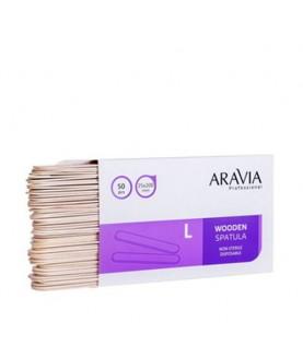 ARAVIA Шпатели деревянные одноразовые размер L 50 шт