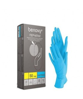 BENOVY Перчатки нитриловые голубые M 100  шт/уп