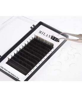 MILAN PRO Микс ресницы для наращивания матовые черные 16 линий толщина 0,10 мм., изгиб C, длина 8 мм.(2), 9 мм.(2), 10 мм.(2), 11 мм.(3), 1043 MP